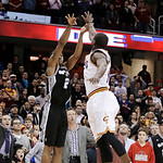 San Antonio Spurs' Kawhi Leonard (2) shoots the game-winning basket over Cleveland Cavaliers' Dion Waiters (3) during an NBA basketball game Wednesday, Feb. 13, 2013, in Cleveland. San Anton …