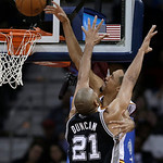 Cleveland Cavaliers' Shaun Livingston tries to dunk against San Antonio Spurs' Tim Duncan (21) during the second quarter of an NBA basketball game Wednesday, Feb. 13, 2013, in Cleveland. Liv …