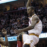 Cleveland Cavaliers' Christian Eyenga yells after dunking against the Los Angeles Lakers in the third quarter of an NBA basketball game in Cleveland on Wednesday, Feb. 16, 2011.  The Cavalie …