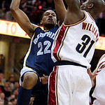 Memphis Grizzlies forward Rudy Gay shoots over Cleveland Cavaliers' Jawad Williams (31) in the second quarter in an NBA basketball game Tuesday, Feb. 2, 2010, in Cleveland. The Cavaliers won …