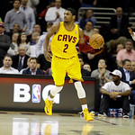 Cleveland Cavaliers' Kyrie Irving brings the ball up against the New Orleans Hornets in an NBA basketball game Wednesday, Feb. 20, 2013, in Cleveland. (AP Photo/Mark Duncan)