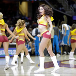 The Cavaliert Girls perform during an NBA basketball game between the New Orleans Hornets and Cleveland Cavaliers Wednesday, Feb. 20, 2013, in Cleveland. (AP Photo/Mark Duncan)