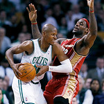 Boston Celtics' Ray Allen, left, looks to move past Cleveland Cavaliers' LeBron James in the fourth quarter of an NBA basketball game, Thursday, Feb. 25, 2010, in Boston. The Cavaliers won 1 …