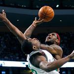 Boston Celtics' Tony Allen, left, fouls Cleveland Cavaliers' LeBron James in the third quarter of an NBA basketball game, Thursday, Feb. 25, 2010, in Boston. The Cavaliers won 108-88. (AP Ph …