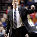 Portland Trail Blazers head coach Terry Stotts disagrees with a call during the first quarter of an NBA basketball game against the Cleveland Cavaliers in Portland, Ore., Wednesday, Jan. 16, …