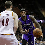 Sacramento Kings' DeMarcus Cousins (15) passes the ball past Cleveland Cavaliers' Tyler Zeller (40) during the first quarter of an NBA basketball game on Wednesday, Jan. 2, 2013, in Clevelan …