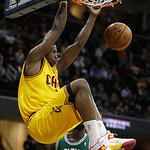 Cleveland Cavaliers' Tristan Thompson (13) dunks the ball against the Boston Celtics in the second quarter of an NBA basketball game Tuesday, Jan. 22, 2013, in Cleveland. (AP Photo/Tony Deja …