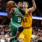 Boston Celtics' Rajon Rondo (9) drives to the basket against Cleveland Cavaliers' Tyler Zeller (40) during the first quarter of an NBA basketball game, Tuesday, Jan. 22, 2013, in Cleveland.  …