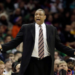 Boston Celtics head coach Doc Rivers reacts during the second quarter of an NBA basketball game against the Cleveland Cavaliers Tuesday, Jan. 22, 2013, in Cleveland. The Cavaliers won 95-90. …