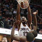 Cleveland Cavaliers' Tristan Thompson (13) dunks against the Golden State Warriors in the second quarter of an NBA basketball game Tuesday, Jan. 29, 2013, in Cleveland. (AP Photo/Mark Duncan …