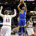Golden State Warriors' Jarrett Jack (2) shoots against the Cleveland Cavaliers in an NBA basketball game Tuesday, Jan. 29, 2013, in Cleveland. (AP Photo/Mark Duncan)