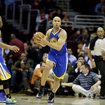 Golden State Warriors' Richard Jefferson (44) starts a break against the Cleveland Cavaliers in an NBA basketball game Tuesday, Jan. 29, 2013, in Cleveland. (AP Photo/Mark Duncan)