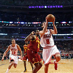 Chicago Bulls guard Marco Belinelli (8) shoots and scores past Cleveland Cavaliers forward Tristan Thompson (13) during the first half of an NBA basketball game Monday, Jan. 7, 2013, in Chic …