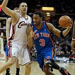 New York Knicks guard Tracy McGrady, right, drives past Cleveland Cavaliers guard Anthony Parker in the second quarter ofan NBA basketball game Monday, March 1, 2010, in Cleveland. (AP Photo …