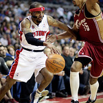 Detroit Pistons guard Richard Hamilton, left, drives on Cleveland Cavaliers forward Jamario Moon in the first half of an NBA basketball game Tuesday, March 16, 2010, in Auburn Hills, Mich. ( …