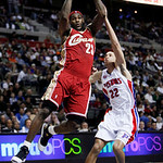 Cleveland Cavaliers forward LeBron James drives to the basket against Detroit Pistons forward Tayshaun Prince in the first half of an NBA basketball game in Auburn Hills, Mich., Tuesday, Mar …