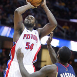 Detroit Pistons' Jason Maxiell (54) shoots over Cleveland Cavaliers' J.J. Hickson in the third quarter of an NBA basketball game Sunday, March 21, 2010, in Cleveland. Maxiell scored 16 for D …