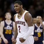 Cleveland Cavaliers' Kyrie Irving reacts late in the fourth quarter during an NBA basketball game against the Utah Jazz on Wednesday, March 6, 2013, in Cleveland. The Cavaliers won 104-101.  …