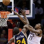 Cleveland Cavaliers' Tristan Thompson (13) works against Utah Jazz's Paul Millsap (24) during the fourth quarter of an NBA basketball game Wednesday, March 6, 2013, in Cleveland. The Cavalie …