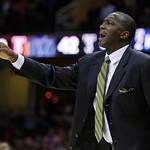 Utah Jazz coach Tyrone Corbin gestures during the second quarter of an NBA basketball game against the Cleveland Cavaliers on Wednesday, March 6, 2013, in Cleveland. The Cavaliers won 104-10 …