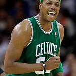 Boston Celtics' Paul Pierce celebrates a play in the fourth quarter of Game 5 against the Cleveland Cavaliers in a second round NBA basketball playoff series Tuesday, May 11, 2010, in Clevel …