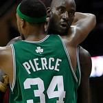Boston Celtics' Kevin Garnett gets a hug from teammate Paul Pierce (34) in the fourth quarter in Game 5 of a second round NBA basketball playoff series Tuesday, May 11, 2010, in Cleveland. T …