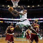 Boston Celtics forward Tony Allen drives to the basket against Cleveland Cavaliers guard Mo Williams, right, and forward Antawn Jamison, left, during the second half of Game 4 in a second-ro …