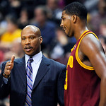 Cleveland Cavaliers coach Byron Scott talks to Tristan Thompson during a timeout in the first half of an NBA basketball game against the Philadelphia 76ers, Sunday, Nov. 18, 2012, in Philade …