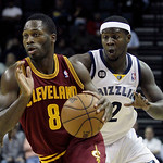 Cleveland Cavaliers' Jeremy Pargo (8) moves the ball down court ahead of Memphis Grizzlies' Josh Selby (2) during the first half of an NBA basketball game in Memphis, Tenn, Monday, Nov. 26,  …