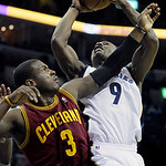 Cleveland Cavaliers' Dion Waiters (3) defends against Memphis Grizzlies' Tony Allen (9) during the second half of an NBA basketball game in Memphis, Tenn, Monday, Nov. 26, 2012. The Grizzlie …