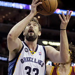 Memphis Grizzlies' Marc Gasol, of Spain, goes to the basket during the second half of an NBA basketball game in Memphis, Tenn, Monday, Nov. 26, 2012. Gasol scored 15 points in the Grizzlies' …
