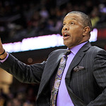 Phoenix Suns coach Alvin Gentry gives a signal to his players during the first quarter of an NBA basketball game against the Cleveland Cavaliers on Tuesday, Nov. 27, 2012, in Cleveland. The  …