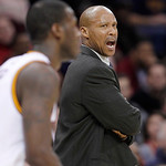 Cleveland Cavaliers coach Byron Scott yells to his players in the third quarter of an NBA basketball game against the Phoenix Suns on Tuesday, Nov. 27, 2012, in Cleveland. The Suns won 91-78 …
