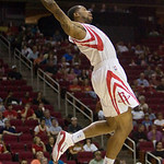 Houston Rockets guard Antonio Anderson can't reach a high pass from a teammate during the first half of an NBA preseason basketball game against the Cleveland Cavaliers on Sunday, Oct. 10, 2 …