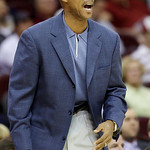 Cleveland Cavaliers coach Byron Scott calls out during the first quarter in an NBA preseason basketball game against the Washington Wizards on Thursday, Oct. 7, 2010, in Cleveland. The Wizar …