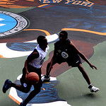 A mural of free agent basketball player LeBron James wearing a New York Knicks jersey is seen on the Rucker Park basketball court in New York, Thursday, July 1, 2010.  (AP Photo/Seth Wenig)