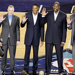 The newest members of the Basketball Hall of Fame, from left, Chris Mullen, Scottie Pippen, Patrick Ewing and Magic Johnson stand after being introduced during the second quarter of the NBA  …