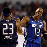 East All-Star Dwight Howard of the Orlando Magic (12) congratulates LeBron James of the Cleveland Cavaliers in the third quarter of the NBA All-Star basketball game Sunday, Feb. 14, 2010, at …