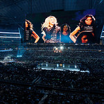 Shakira is shown on a large video screen as she performs at halftime of the NBA All-Star basketball game Sunday, Feb. 14, 2010, at Cowboys Stadium in Arlington, Texas. (AP Photo/Tony Gutierr …