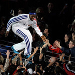 East All-Star LeBron James of the Cleveland Cavaliers is introduced at the pregame show of the NBA All-Star basketball game Sunday, Feb. 14, 2010, at Cowboys Stadium in Arlington, Texas. (AP …