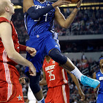 East All-Star Paul Pierce of the Boston Celtics looks to pass the ball fourth quarter of the NBA All-Star basketball game Sunday, Feb. 14, 2010, at Cowboys Stadium in Arlington, Texas. (AP P …