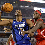 East All-Star Dwight Howard, left, of the Orlando Magic, is grabbed by West All-Star Zach Randolph of the Memphis Grizzlies in the first quarter of the NBA All-Star basketball game Sunday, F …