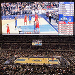 The fourth quarter of the NBA All-Star basketball game is seen on the giant video screen Sunday, Feb. 14, 2010, at Cowboys Stadium in Arlington, Texas. (AP Photo/Tony Gutierrez)