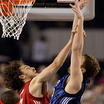 West All-Star Pau Gasol of the Los Angeles Lakers fouls East All-Star David Lee of the New York Knicks. who tries to shoot during the second quarter of the NBA All-Star basketball game Sunda …