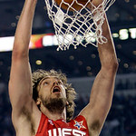 West All-Star Pau Gasol of the Los Angeles Lakers dunks during the second quarter of the NBA All-Star basketball game Sunday, Feb. 14, 2010, at Cowboys Stadium in Arlington, Texas. (AP Photo …