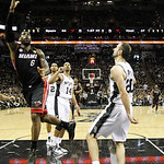 Miami Heat's LeBron James (6) shoots against the San Antonio Spurs during the first half at Game 5 of the NBA Finals basketball series, Sunday, June 16, 2013, in San Antonio. (AP Photo/Mike  …