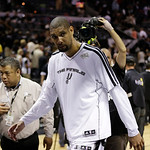 San Antonio Spurs' Tim Duncan leaves the floor after Game 5 of the NBA Finals basketball series against the Miami Heat, Sunday, June 16, 2013, in San Antonio. The Spurs won 114-104. (AP Phot …