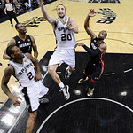 San Antonio Spurs' Manu Ginobili, of Argentina, shoots against the Miami Heat during the second half at Game 5 of the NBA Finals basketball series, Sunday, June 16, 2013, in San Antonio. The …