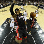 Miami Heat's LeBron James (6) dunks against the San Antonio Spurs during the first half at Game 5 of the NBA Finals basketball series, Sunday, June 16, 2013, in San Antonio. (AP Photo/Brenda …