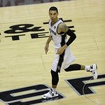 San Antonio Spurs' Danny Green moves down court against the Miami Heat during the second half at Game 5 of the NBA Finals basketball series, Sunday, June 16, 2013, in San Antonio. (AP Photo/ …